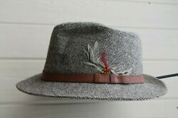 London Fog Houndstooth Wool Blend Fedora Hat Leather Band Mens Xl