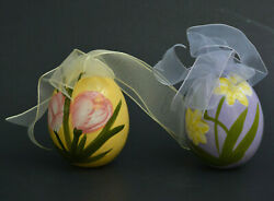 Lovely Pair of Hand Ceramic Painted Easter Egg Ornament Flowers Yellow Purple