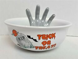 Trick Or Treat Halloween Candy Bowl With Hand Ceramic R.I.P. Candy Bowl Prop 209