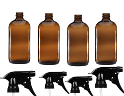 Amber Glass Spray Bottles 16oz Refillable Container With Sprayer 4 Pack