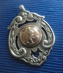 Large Stg Silver And Gold Football Fob Medal Robert Chandler H/m 1903 Not Engraved