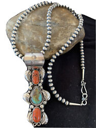 Navajo Native Amer Blue Turquoise Coral Sterling Silver Necklace Pendant 01377