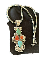 Navajo Native Am Gr Blue Turquoise Coral Sterling Silver Necklace Pendant 01378