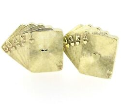 Vintage 14k Yellow Gold Playing Cards Cuff Links Gambler Card Poker Player