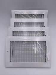 4x Venti Air 10 In. X 6 In. Adjustable 1 Way Air Register White Four Total