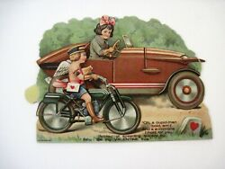 Motorcycle And Car Race Vintage Valentine W/ Cupid On Motorcycle And Girl In Car