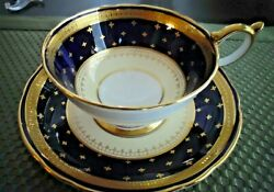 Aynsley Royal Blue Thick Raised Gold Stencil Gilt Teacup And Saucer Made In Eng