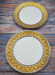 La Paiva By Christofle Dinner Plates, Set Of 13, Measures 10.75 Wide Gold Rim