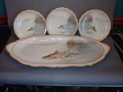 19th Century Fish Service G D And Cie Limoges France Signed Lalanne Platter Plates