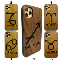 Horoscope Wooden Case For Iphone 12 Pro Max 11 Xr Se X 8 7 6 Plus Wood Sn99