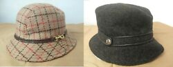 2 COACH Bucket Wool Hats Gray and Camel Size M L $30.00