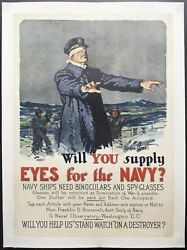 1917 Will You Supply Eyes For The Navy Poster Gordon Grant Wwi Original On Linen