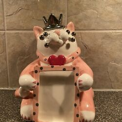 Amy Lacombe Pink Ceramic Cat With A Crown , Heart Collar And Picture Frame V-day