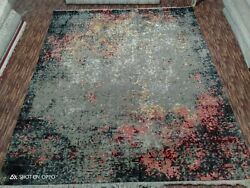 8and039x10and039 Rug | Modern Luxury Hand Knotted Rug Wool And Viscose Grey Red Multi Color
