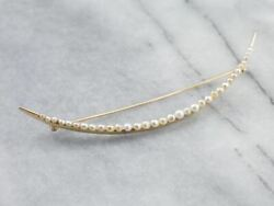 Antique Seed Pearl Crescent Moon Brooch