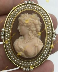Rare Antique Agate Art Nouveau Cameo With Diamonds And Pearls