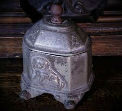 Antique Lead Pewter Georgian Tobacco Jar With Dog Relief