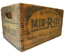 Scarce Min-r-ize Early-mid 20th C American Vint Advertising Wood Box Soda Crate