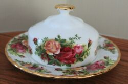 Royal Albert Old Country Roses Bone China Covered Round Butter Dish - England