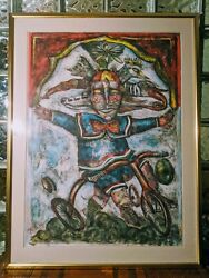 Huge 41 Mexican Alejandro Colunga 1948- Limited Serigraph Clown On Tricycle