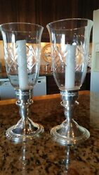 Pr Of Sterling Weighted Candle Sticks Clear Etched Hurricane 10 Inches Tall