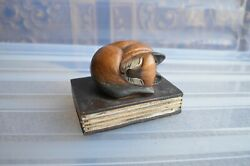 Sleeping Curled Carved Solid Wood Siamese small Cat Figurine with book