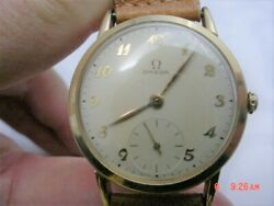 Vintage 1950s Omega 14k Gold Case, Sub Seconds Dial. Cal. 30t2, Brooklyn Gas Co.