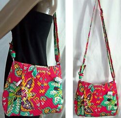 Nwt Vera Bradley Hadley Cross-body Bag Rumba Pink Red Floral 10x12 Large Hipster