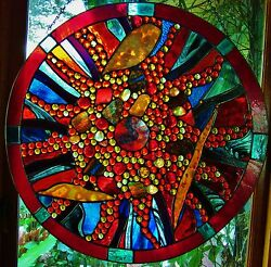 Abstract Stained Glass Disk And039light Echoand039 Window Door Leadlight Suspended Works