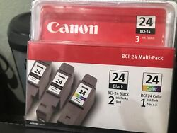 Canon Bci-24 Ink Cartridges Two Black/one Color 3 Pack Brand New