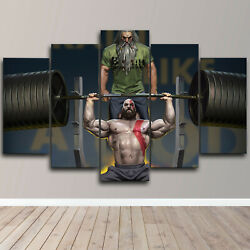 Kratos Weight Lifting Funny 5 Piece Canvas Wall Art Abstract Print Home Decor
