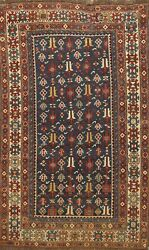 Pre-1900 Vegetable Dye Caucasian Hand-knotted Area Rug Tribal Oriental Wool 4x5