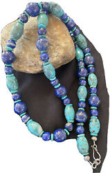 """Men Native American Navajo Blue Lapis Turquoise Sterling Silver Necklace34""""01394"""