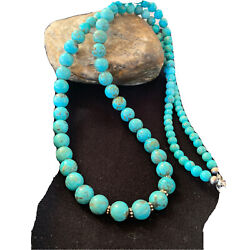 """Mens Grad Native American Navajo Blue Turquoise Sterling Silver Necklace31""""01395"""
