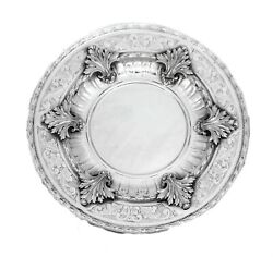 Italian 925 Sterling Silver Chased Swirl Large Leaf Round Plate Tray
