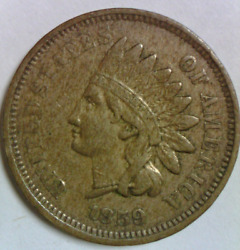 1859 Indian Head Cent Extremely Fine Quality Type Coin One Penny