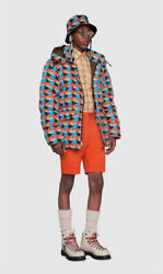 The Blue Red Gg Print Sierra Puffer Padded Down Parka Jacket S