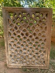 Vintage Rare Stone Hand Carving Jharokha Indian Architecture Window Wall Panel
