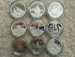 64x Legendary Fighting Ships 1 Oz Silver Proof Coins - Bismarck, Mary Rose Etc.