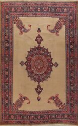 Antique Vegetable Dye Medallion Brown Hand-knotted Traditional Area Rug 10x13