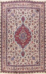 Vintage Vegetable Dye Floral Traditional Ivory Hand-knotted Wool Area Rug 10x13