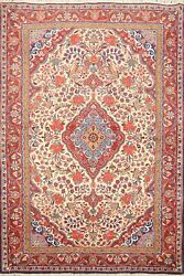 Vintage Floral Traditional Ivory Hand-knotted Area Rug Wool Oriental Carpet 4x5
