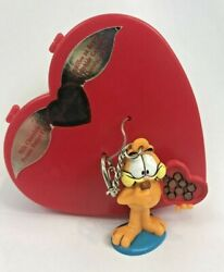 Vintage Garfield Russell Stover Valentine Candy Heart Box Pvc Figure Keychain