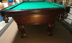 8- Ft. Solid Wood Billiards Table - Slate Playing Surface -complete Accessories