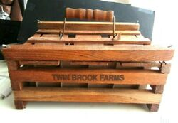 Vintage Twin Brook Farms Wooden Fresh Eggs Carrier Wooden Handle/faux Eggs