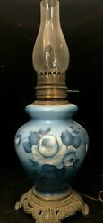Vintage Electrified Blue Glass Oil Lamp With Hurricane Shade