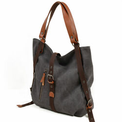 Ladies Fashion Handbag Shoulder Purse Women Canvas Leather Tote Bags Dark Gray $19.98