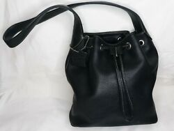 Vintage A. Giannetti Black Leather Bucket Purse With Drawstring $14.99