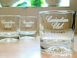 Canadian Club Whiskey Rock Bar Glass Tumblers White/gold Etched Weighted Base