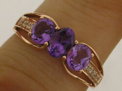 R245 Genuine 9k 10k 18k Solid Gold Natural Amethysts And Diamond Trilogy Ring